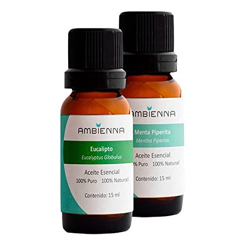 Ambienna | Paquete Respira, 2 Aceites Esenciales 15 ml, Eucalipto y Menta Piperita - 100% natural y 100% puro