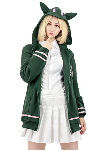 DAZCOS US Size Adult Anime Chiaki Nanami Cosplay Hoodie (Large) Green