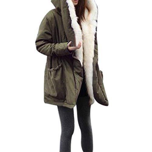 Nvfshreu winterjas voor dames, modieus, elegant park, warm kunstbont, lange mouwen, winter, comfortabele maten, verdikt, casual locker outdoor, outdoor, winterjas met capuchon