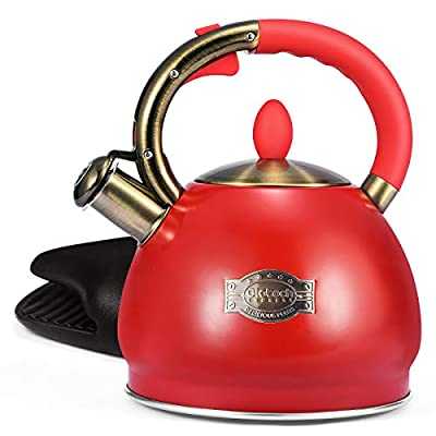 Glotoch Whistling Tea Kettle for Stovetop-Stainless Steel Teakettle Teapot with Cool Toch Ergonomic Handle,1 Free Silicone Pinch Mitt Included,2.64 Quart Red