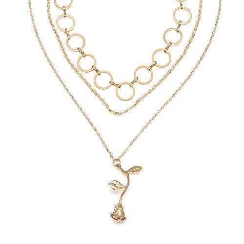 Kercisbeauty Multi-layer Open Cirkel Goud Zilver Choker Ketting met Rose Hanger voor Vrouwen en Meisjes, Handgemaakte Unieke Ketting, Gift voor haar, Feest, Dagelijks Leven,Verjaardag, Valentijnsdag Goud