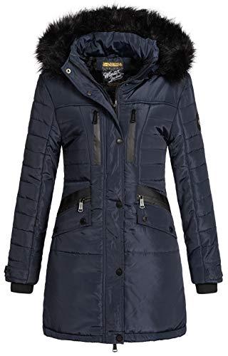 Geographical Norway Parka Brunch Chaqueta acolchada con capucha de piel para mujer azul marino M