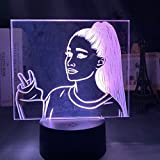Cantante Ariana Grande Luz de noche Led para ventiladores Decoración del hogar Luz de noche Batería USB Led colorida Lámpara de acrílico 3d Dropshipping