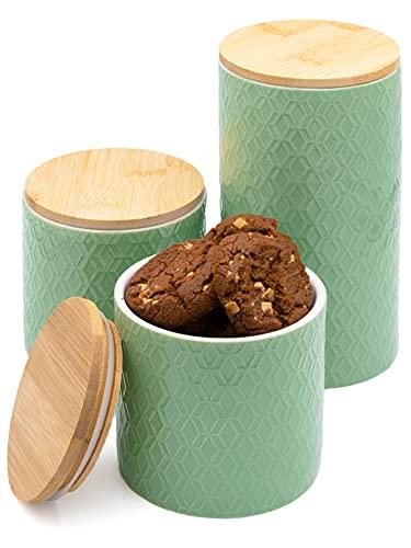 3 Contenitori in Ceramica con Coperchio in Legno - Verde Menta - Coperchio con Guarnizione - Lavabile in Lavastoviglie
