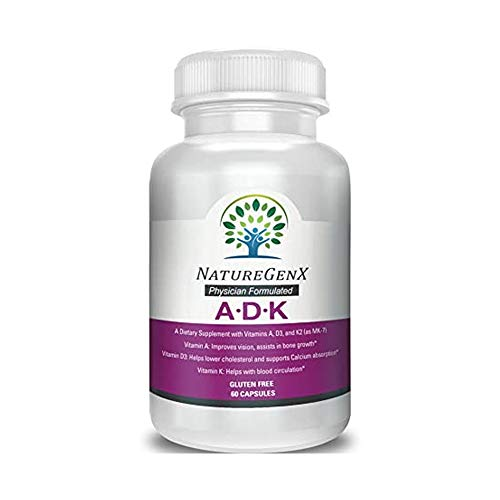 NatureGenx - Vitamin ADK - Dr Formulated, Bioavailable - Vitamins A 5,000 iu D3 5,000 iu K2 (as MK-7) 500mcg - Support Bone, Heart, and Immune System Supplement Non-GMO No Soy 60 V-Cap 2 Months Supply