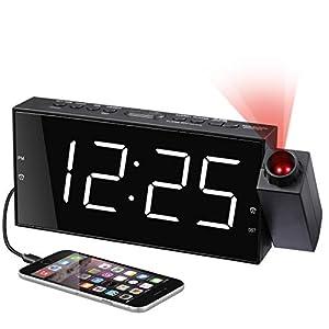 Reloj Despertador de Proyección para Dormitorios, Reloj Despertador Digital con Pantalla LED y Atenuador, Proyector, Horario de Verano, Repetición, Reloj de Pared de Escritorio para Niños Mayores