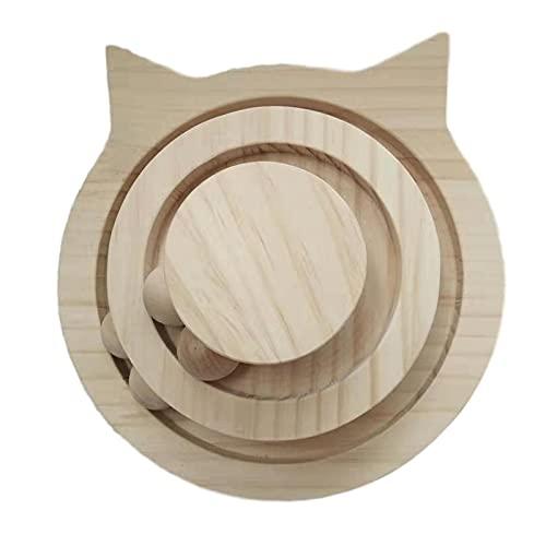 PPuujia Juguete para gatos de 2/3 capas de mesa giratoria de madera para gatos, juguetes interactivos para gatos, juguetes para mascotas con bolas divertidas, juguetes para gatitos (color: dos pisos)