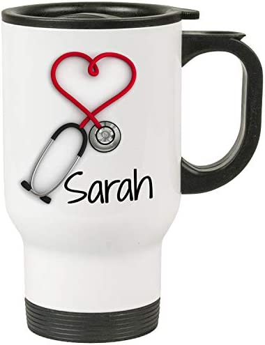 Personalized Stethoscope Travel Mug Nurses and Doctors Gifts 14oz Insulated Cup with Lid Printed product image