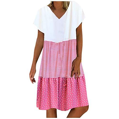 Sommerkleid Damen Lang Strandkleid Kurzarm Swing Kleider Damen Knielang A-Linie Kleid Boho Vintage Casual Kleid Lässige Locker Langes Freizeitkleid