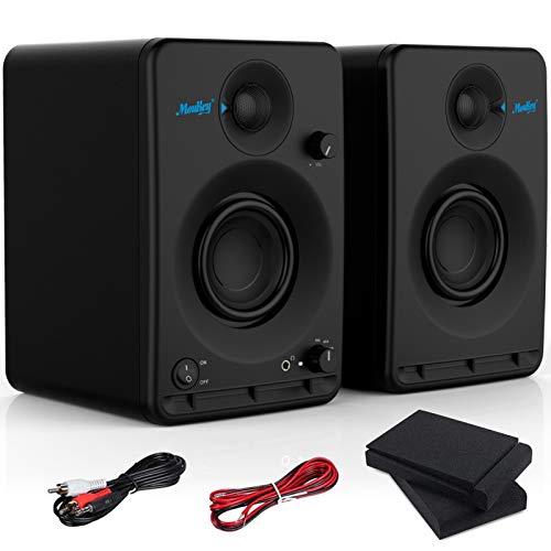 """Estudios Monitor Altavoz Moukey Bluetooth Sistema de Audio Altavoz Monitor de Escenario 2.0 Estéreo 3"""" Sistema de Altavoces Karaoke para la producción de música o mezcla, juegos, madera-MA20-2 (Par)"""