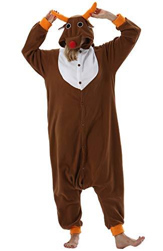 Pijama Animal Entero Unisex para Adultos con Capucha Cosplay Pyjamas Alce Ropa de Dormir Traje de Disfraz para Festival de Carnaval Halloween Navidad