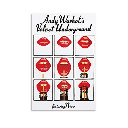 Póster de Andy Warhol's Velvet Underground con cuadro artístico impreso en lienzo y arte de la pared, impresión moderna para dormitorio familiar de 20 x 30 cm