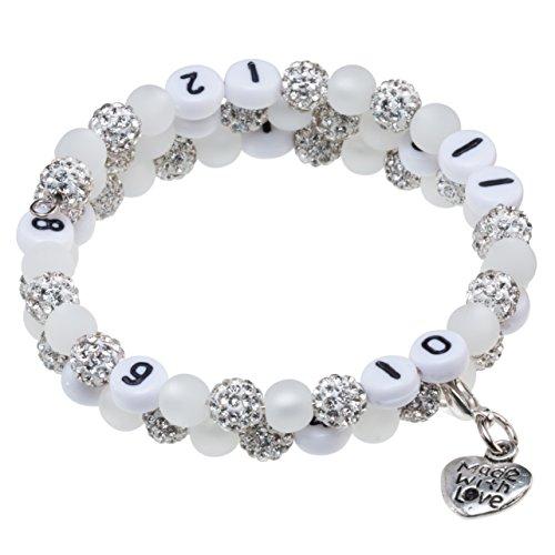 Stillarmband Glamour - Praktisch für stillende Mütter sowie ein ideales Geschenk zur Geburt! (weiß)