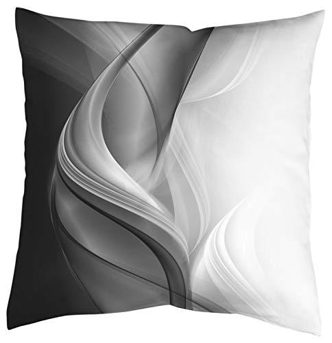 Home Fashion Kissenhülle Digitaldruck, Samt, grau, 1 x 50 x 50 cm
