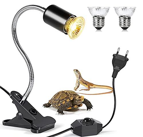 MILIWAN Lampada Tartaruga Kit Illuminazione Tartaruga Include 1 Portalampada E27 e 2 Lampade per Tartarughe da 75W con Luce UVA UVB per Scaldare e Illuminare Aquario o Rettili