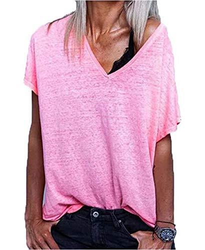 Effely Damen Sommer T-Shirt V-Ausschnitte Fledermausärmel Loose Oversize Shirts