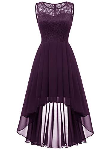 Aupuls Damen Elegant Hochzeit Vokuhila Brautjunfernkleid Ärmellos Cocktailkleid Vintage Kleid Grape M