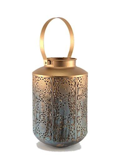 Crispe home & garden Orientalisches Windlicht aus Metall Goa - Türkis mit Übergang zu Gold - mit Goldschimmer - mit Henkel aus Metall - Laterne Höhe 25 - Ø 16 cm - Höhe mit Henkel 36,5 cm