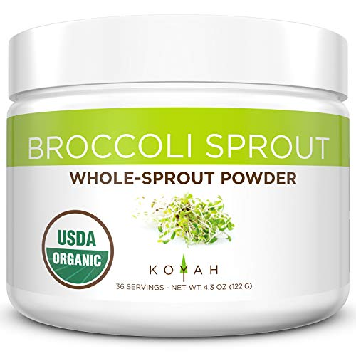 KOYAH - Organic Broccoli Sprout Powder (1 Scoop = 1/4 Cup Sprouts): 36 Servings, Freeze-dried, Tested for Active Myrosinase and Glucoraphanin (Sulforaphane Glucosinolate)