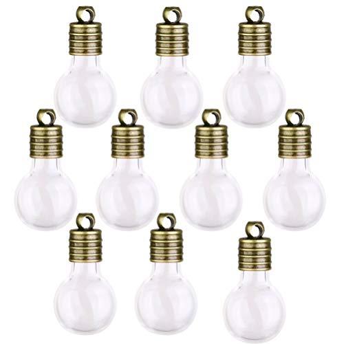 Artibetter Mini Frascos de Botellas de Vidrio con Tapa Botellas de Deseo en Forma de Bombilla Miniatura para La Tienda de Oficina en Casa 10 Unidades ()