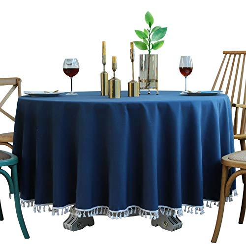 PhantasyIsland.com Mantel Rectangular de Lino y algodón, Resistente a la Suciedad, a Rayas, para decoración de Mesa de Comedor o Cocina, 140cm