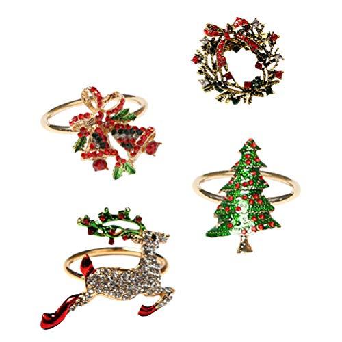 ABOOFAN 4pcs Rhinestone Xmas Napkin Ring Reindeer Xmas Tree Wreath Jingle Bell Napkin Holder for Christmas Holidays Dinner Everyday Use