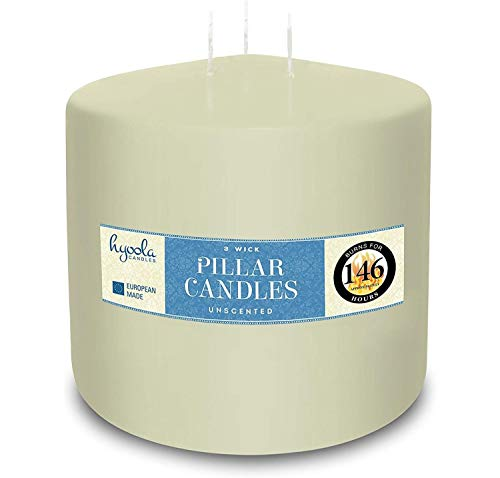 HYOOLA Ivory Three Wick Large Candle - 6 x 6 Inch - Unscented Big Pillar Candles - 146 Hour - European Made