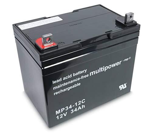 Multipower MP34-12C 12V 34Ah AGM Blei Akku zyklenfest für Rollstühle, Caddys uvm