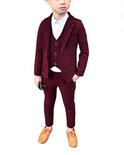 DianShao Jungen 3 Stück Formal Anzug Kinder Gentleman Weste + Blazer + Hosen Violett Rot 140