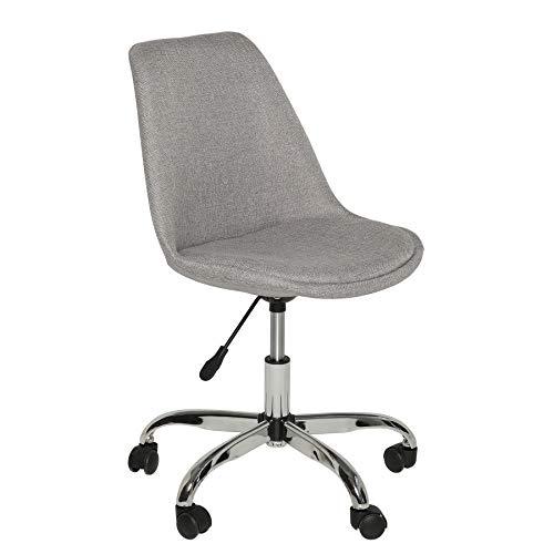 Invicta Interior Höhenverstellbarer Bürostuhl Scandinavia hellgrau Chromgestell mit Rollen Stuhl Drehstuhl Schreibtischstuhl