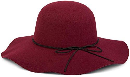 styleBREAKER Floppy Fedora Filzhut mit schmalem Zierband und Schleife aus Filz, Hut, Damen 04025008, Farbe:Bordeaux-Rot