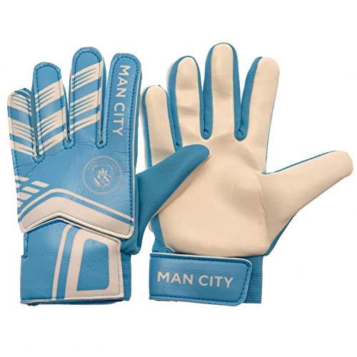 TwoZero - Guantes de portero 100% oficiales de la Premier League Football Club para niños y adolescentes (10-12 años), diseño del Manchester City FC