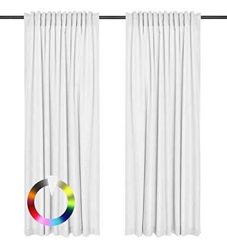 Rollmayer Vorhänge mit Tunnelband Kollektion Vivid (Weiß 1, 135x150 cm - BxH) Blickdicht Uni einfarbig Gardinen Schal für Schlafzimmer Wohnzimmer