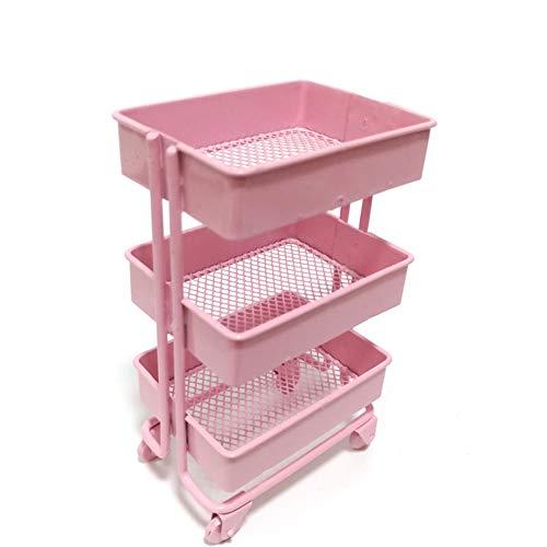 lamta1k Puppenhaus Lagerregal,1/12 Puppenhaus Eisen 3 Tier Lagerregal Wagen Küchenmöbel Zubehör Pink