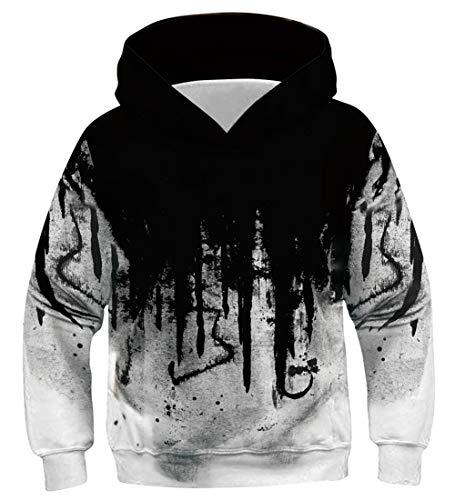 Fanient Amazing 3D Funny Print Kapuzenshirt Kangaroo Pocket Hooded Sweatshirts für Teen Girls Grün/Schwarz