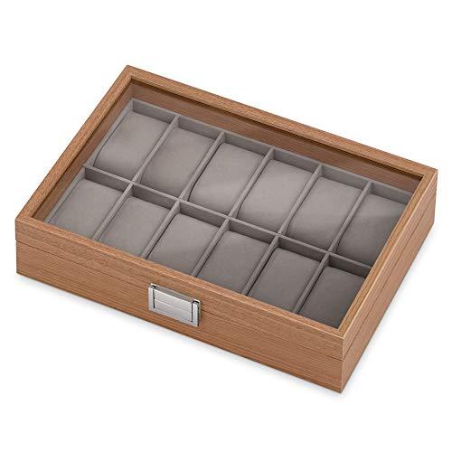 Maverton Uhrenbox für 12 Uhren - 31x21x7,5cm - Uhrenkasten aus Holz - Braun - Geschenk zum Geburtstag für Damen und Herren