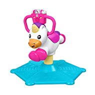 Unicorn plays music and educational content as baby bounces or spins 360 degrees 2 ways to play! Learning and Music modes Light-up rattle roller, ABC and 123 buttons activate more songs and whimsical sounds Easy-grip handles, sturdy base, and com...