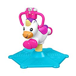 Unicorn plays music and educational content as baby bounces or spins 360 Degree Two ways to play: Learning and music modes Light-up rattle roller, ABC and 123 buttons activate more songs and whimsical sounds Easy-grip handles, sturdy base, and co...