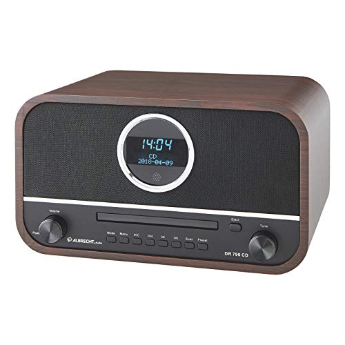 Albrecht DR790CD Digitalradio DAB+, 27790, multifunktional inkl. CD-Player und Bluetooth, Holzgehäuse in Dunkelbraun