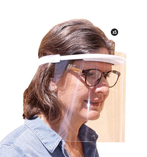 KMINA Pro - Pantallas Protectoras Faciales (Pack x5 uds.), Pantalla Protección Facial, Visera Protección Facial, Protectores Faciales, Pantalla Protección Facial Gafas, Fabricadas en España