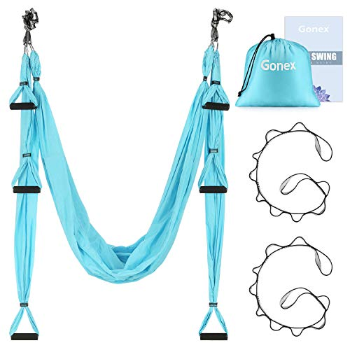 Gonex Aerial Yoga Swing Set, Yoga Hammock Trapeze Sling Kit Fitness Inversion Swing Ceiling Hanging with Extension Straps and Instruction for Beginners Adults and Kids, Blue