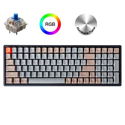 Keychron K4 Wireless Bluetooth/USB Wired Gaming Mechanical Keyboard, Compact 100 Keys RGB LED Backlit Gateron Blue Switch N-Key Rollover, Aluminum Frame for Mac Windows