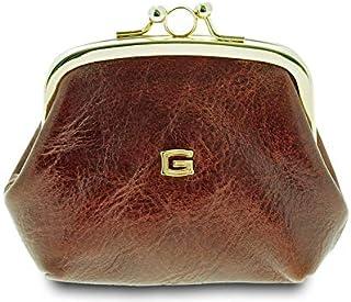 GIUDI ® - Portafoglio in pelle vacchetta, vera pelle, portamonete donna, Made in Italy (Marrone)