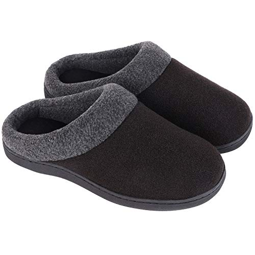HomeIdeas Women's Comfy Wool Blend Memory Foam Slippers Cotton Knit Slip ons for Indoor Outdoor Use (Black, 7-8 M US)
