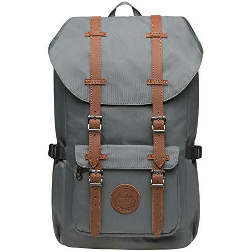KAUKKO Vintage Rucksack mit Laptopfach für 14 Zoll für Business Wandern Reisen Camping, 19.7 L, 28 * 15 * 47 cm (Grau JNL-EP5-11-09)