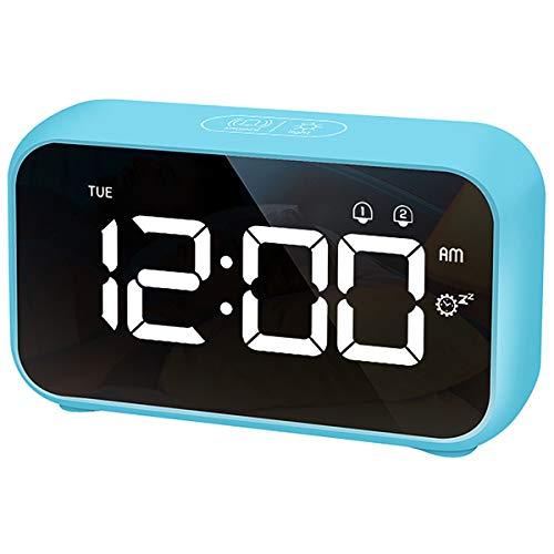 HOMVILLA Sveglia Digitale, Sveglia da Comodino LED con 40 suonerie opzionali, Orologio a Specchio con Doppio Allarme, Funzione di Snooze, 4 Livelli di luminosità, Sistema 12/24 Ore (Blu)
