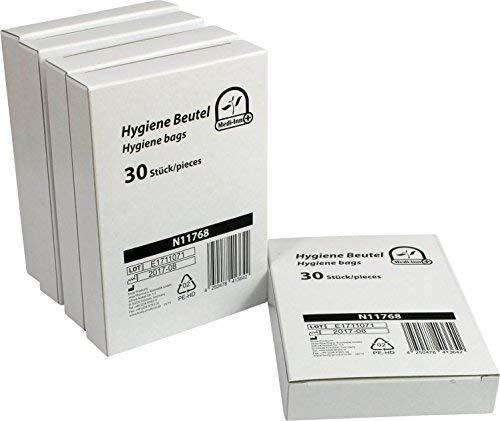 Medi-Inn Hygienebeutel | für eine einfache Entsorgung von Damenbinden, Slipeinlagen und Tampons | 5 Packungen à 30 Stück = 150 Stück