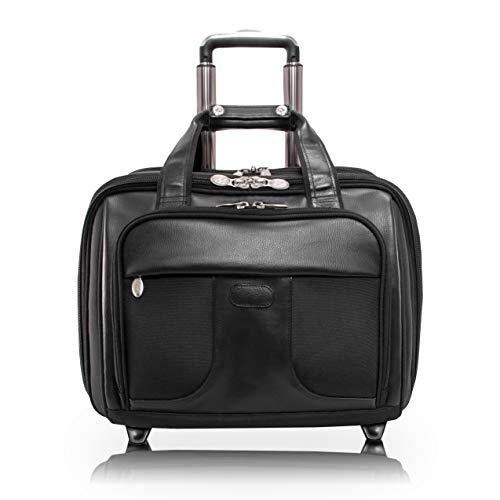 "Mcklein, R Series, Chicago, Tech-Lite Ballistic Nylon, 15"" Nylon Patented Detachable -Wheeled Laptop Overnight with Removable Briefcase, Black (73585)"