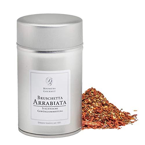 Boomers Gourmet - Bruschetta Arrabiata Gewürzmischung I Bruschetta Arrabiata Gewürz, getrocknete Tomatenflocken mit etwas Chili und Kräuter - Gewürzdose 11,5 cm - 120 g