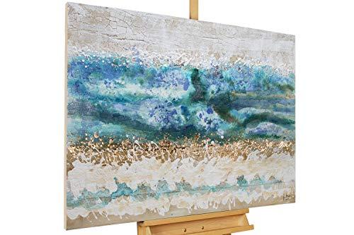 KunstLoft® Acryl Gemälde 'Layers of Ages' 100x75cm | original handgemalte Leinwand Bilder XXL | Abstrakt Beige Blau Deko | Wandbild Acrylbild moderne Kunst einteilig mit Rahmen